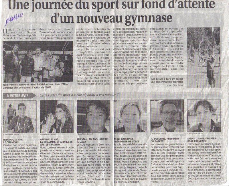 Journée du sport 11 septembre 2010