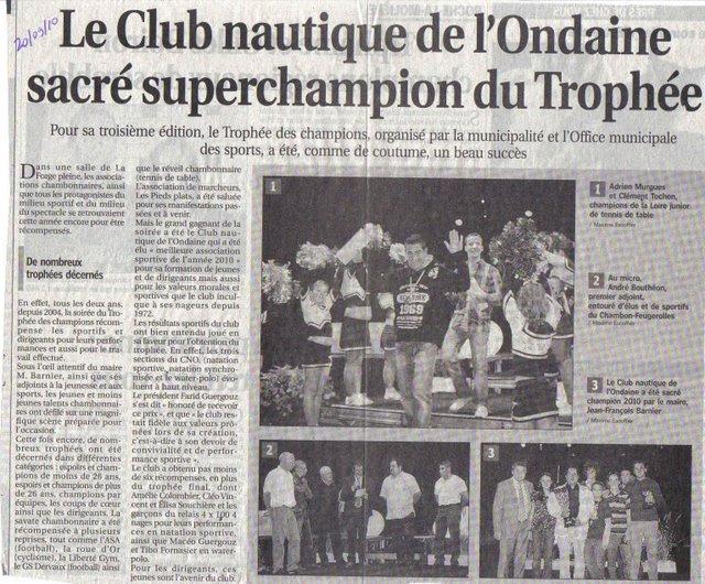 Le club nautique de l'Ondaine sacré super champion du Trophée des champions